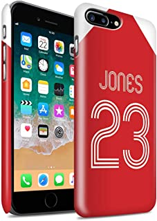 Personalized Custom Soccer Club Jersey Shirt Kit Matte Case for Apple iPhone 8 Plus/Red White Design/Initial/Name/Text DIY Snap-On Cover
