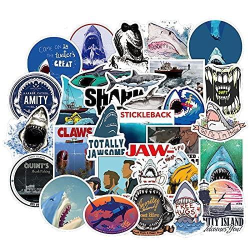 LZWNB Diario de dibujos animados Surf Animal Marino Tiburón Película Etiqueta Para Maleta Motocicleta Casco Diy Impermeable Pvc Graffiti Pegatinas 50pcs