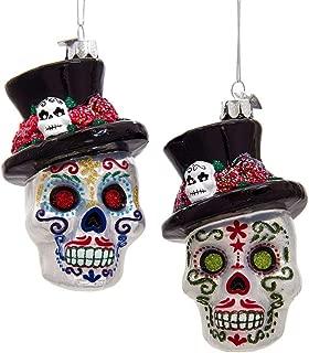 Kurt Adler Noble Gems - Skeleton Head Ornaments - Set of 2