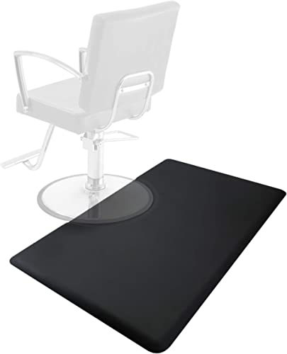 Saloniture 3 ft. x 5 ft. Salon & Barber Shop Chair Anti-Fatigue Floor Mat - Black Rectangle - 5/8 in. Thick