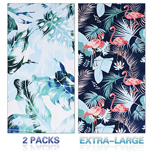 "Genovega Microfiber Beach Towel Oversize, Extra Large 74""x36"", 2 Packs Palm Flamingo, Fast Quick Dry,Cool Pool Towel, Lounge Cover, for Women Men, Mom Dad, Best Friend Boyfriend Girlfriend"