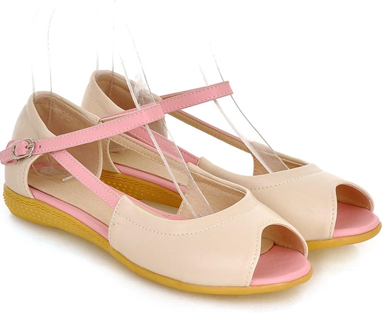 AIWEIYi Womens Patch color Peep Toe Flat Heel Sandals bluee