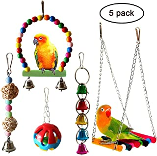 QUMY 5pcs Bird Parrot Toys Hanging Bell Pet Bird Cage Hammock Swing Toy Wooden Hanging Perch Toy for Small Parakeets Cockatiels, Conures, Macaws, Parrots, Love Birds, Finches