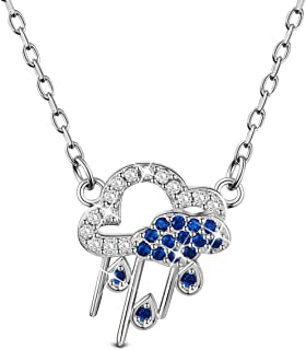 """SHEGRACE Flaky Clouds Rain Pendant Necklace S925 with Cubic Zirconia Necklaces for Woman Girls,17.32"""""""