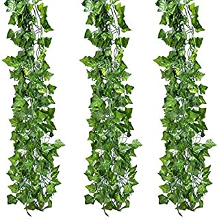 Timoo 12 Strands Artificial Ivy Garland, Plant Leaf Vine Hanging Garland Fake Evergreen Decoration for Wedding Wall Home Kitchen Office Outdoor Garden, 78.7 Feet
