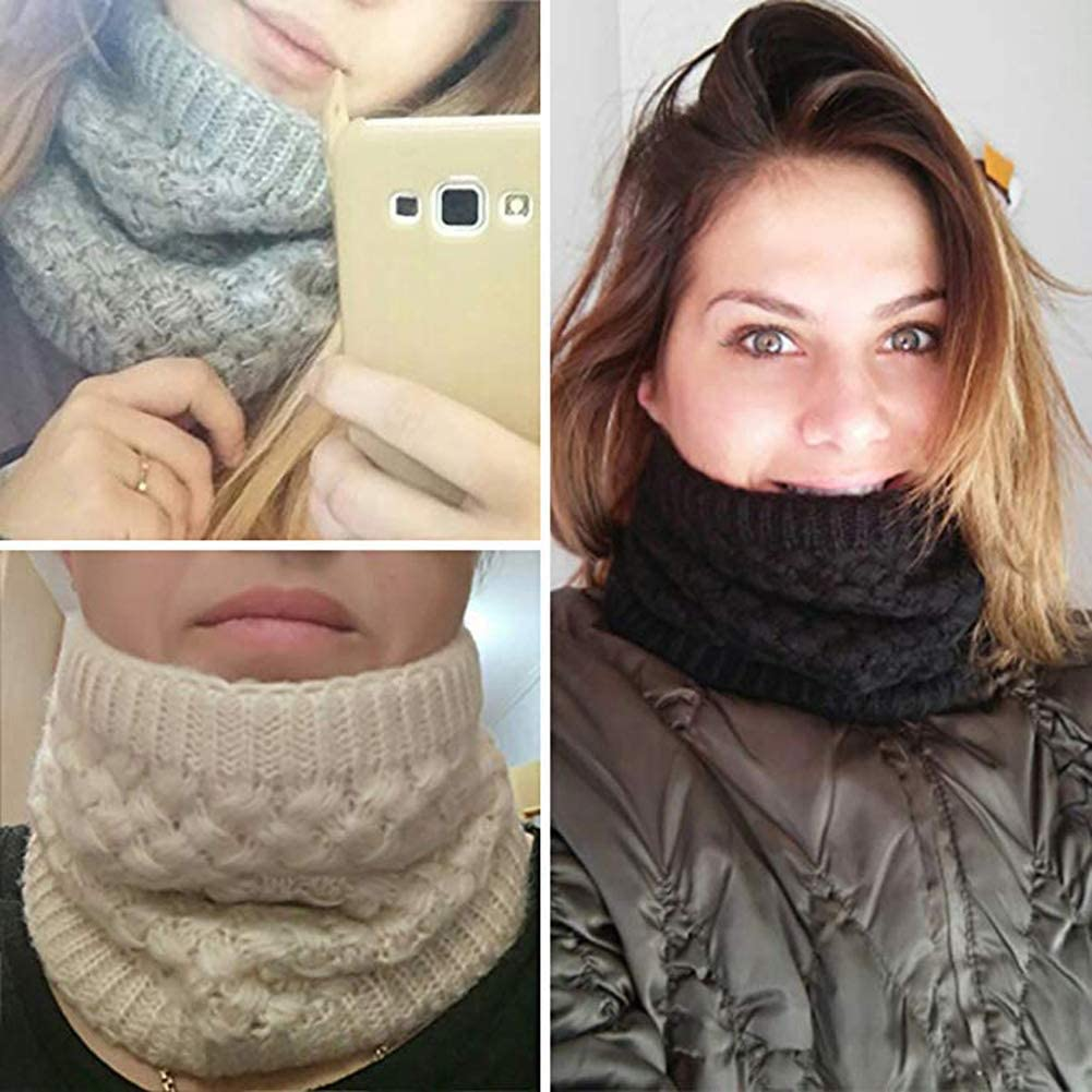 CRUOXIBB Women Winter Neck Warmer Gaiter Double-Layer Soft Fleece Lined Thick Knit Circle Scarf Windproof