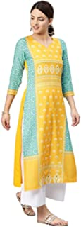 Vaamsi Women's Poly Crepe straight Kurta (VPK1583Par_ Yellow_ Large)