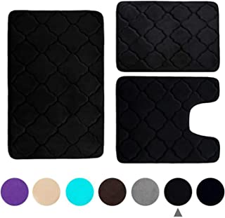 Buganda 3 Piece Memory Foam Bath Rugs Set - Extra Soft Velvet Non Slip Absorbent Bath Mats, Small Large Bathroom Rugs and Contour Mat, Black