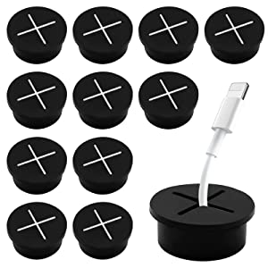 Anvin 12 Pack Cable Cord Rubber Grommet 3/4 InchWire Hole Cover Desktop Cables Organizer Wire Holder Plug Grommet Wire Protection Cable Pass Through for Office PC Desk Hiding Cables- Black