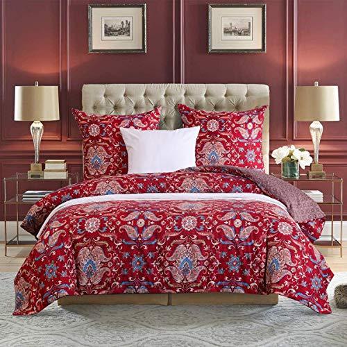 Luofanfei Bohemian Bettwäsche Set 155x220 3 teilig Rot Mandala Boho Style Bettbezug 100% Mikrofaser Indishes Muster Wendebettwäsche mit Kissenbezug 80x80 cm Reißverschluss Einzelbett