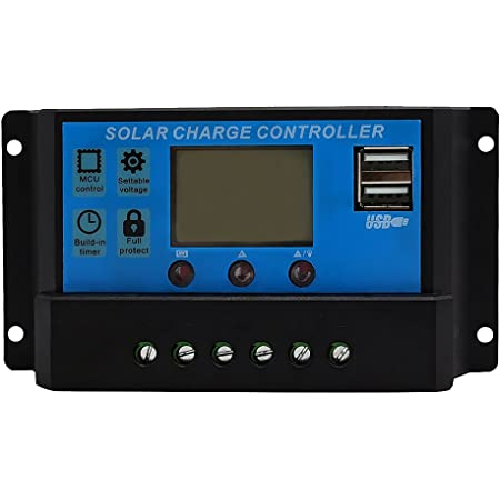 LCD Display 10A 20A amp Solar USB Charge Controller Regulator 12V/24V Auto Switch - 10a, One Size