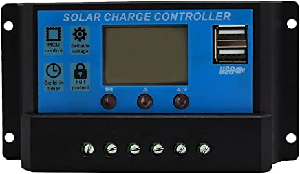 MagiDeal LCD Display 10A 20A amp Solar USB Charge Controller Regulator 12V/24V Auto Switch - 10a, One Size