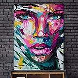 Imprimir en Lienzo Abstracto Colorido Chica Arte de la Pared Imagen Decorativa decoración del hogar Sala de Estar sofá decoración de la Pared,50x70cm,Pintura sin Marco