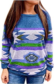 Womens Casual Long Sleeve Ethnic Pullover O Neck Floral Print Loose Tunics Comfy Blouse Tops Shirt