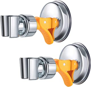 Adjustable Shower Head Holder Bathroom Suction Cup Handheld Shower Head Holder Mounting Bracket Plastic ABS with Chrome Polished for Marble Glass Metal Ceramic (2, Orange Wrench)