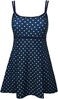 Women's One Piece Polka Dot Swimdress Cover Up Swimsuit Plus Size Modest Swimwear