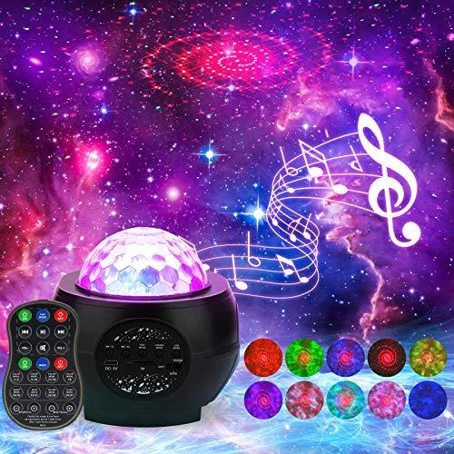 Galaxie Projektor,LED-Nachtlicht,Sternennebel-Ozeanwelle Projektor, Sternenhimmel Projektor mit, Bluetooth-Lautsprecher mit Fernbedienung & Sprachsteuerung, für Kinder Adult Bedoom Party