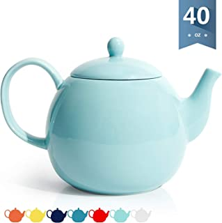 Sweese 220.102 Porcelain Teapot, 40 Ounce Tea Pot – Large Enough for 5 Cups, Turquoise