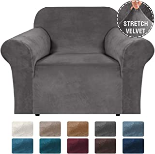 """H.VERSAILTEX Stretch Velvet Armchair Cover Couch Covers 1 Cushion Chair Slipcover for Living Room Furniture Cover Crafted from Thick Comfy Rich Velour (Chair 32""""-48"""", Grey)"""