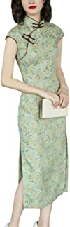 HangErFeng Women's Qipao Ramie Printed Classical Bygone Shanghai Cheongsam