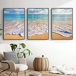 ETH murals 3pcs Minimalist Modern European And American Style Personality Pattern Painting Mural Beach Waves Foam Frame De...