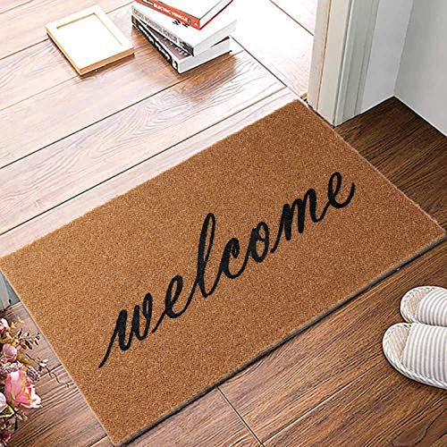 OurWarm Welcome Mats for Front Door, Entryway Welcome Doormat with Thickened Non-Slip PVC Backing for Outdoor and Indoor Use, 16 x 30 Inch Coir Layered Door Mats for Front Porch Farmhouse Decor