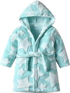 Cómoda largo vestido de la ropa de noche Batas niños invierno ropa de dormir de la franela con capucha estrella Albornoz muchacha del bebé Albornoz pijamas de los niños de 1-6 años de adolescente cami