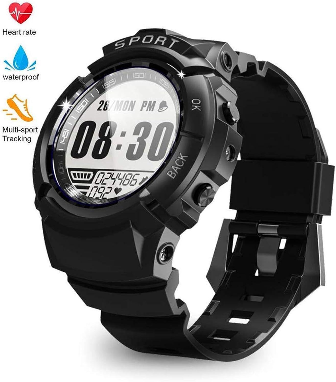 CCDYLQ Men Smart Watch Fitness Tracker IP68 Professional Waterproof HR mit Herzfrequenz-Monitor, Step Calorie Counter Pedometer Kompass, 6 Sports Mode Wearable Oxygen Blood Pressure Wrist Watch,schwarz
