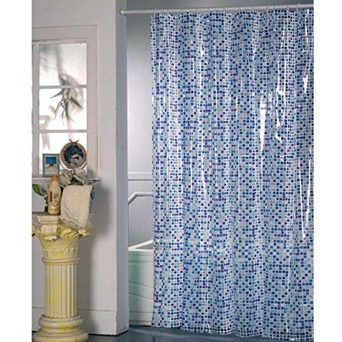 MSV Duschvorhang PVC Anti Schimmel 100prozent wasserdicht 180x200 cm + 12 Duschvorhangringe