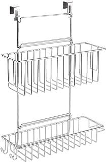 WENKO Panier à suspendre chromé Flexi - 2 rayons, Métal chromé, 32 x 47 x 12.5 cm, Argent brillant