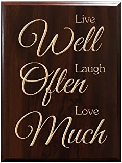 TimberCreekDesign Live Well Laugh Often Love Much Decorative Carved Wood Sign Quote, Faux Cherry
