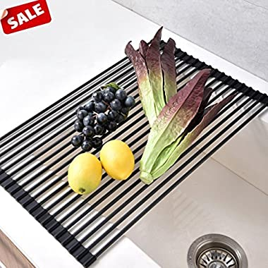 Foldable Stainless Steel Dish Drying Rack,?Heat Resistant Roll-up Over Sink Rack Kitchen Drainer Rack