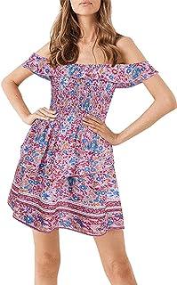 Mujer Boho Vintage Fuera del Hombro Tubo elástico Top Cintura Alta Estampado Floral Verano Playa Sundress Mini Vestido