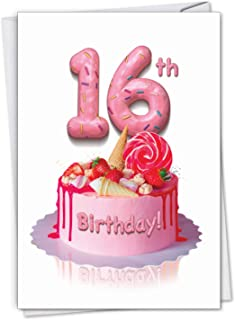 Big Day 16 - Milestone 16th Happy Birthday Card with Envelope (4.63 x 6.75 Inch) - Delicious Strawberry Cake, Pink Bday Greeting Card for Girls - Sweet 16, Congrats Gift for Birthdays C7060AMBG