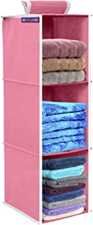 PrettyKrafts 3 Tiers Clothes Hanging Organizer, Wardrobe for Regular Garments, Shoes Storage Cupboard, Hanger Bag - Pink