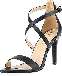 Women Stiletto Open Toe Cross Strappy Heeled Sandals Ankle Strap High Heels Dress Shoes