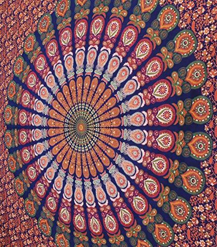 MY DREAM CARTS Tapiz con diseño de Mandala Azul, Colgar en la Pared, Estilo Hippie Indio, para Colgar en la Pared, para Colcha de Playa, tamaño Queen, (213 x 229 cm)