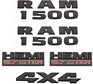 RAM 1500 4X4 Plus 5.7 Liter HEMI Emblems 3D Nameplate Badge Sticker Fit For Ram 1500 2013-2018 (Black)