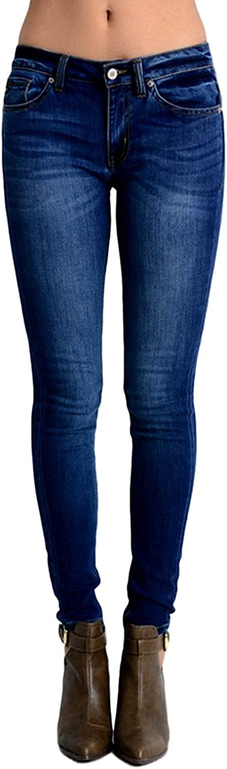 Kan Can Women's Mid Rise Skinny Jeans Medium Wash KC7085GT