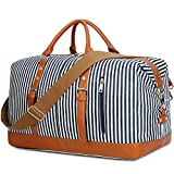 CAMTOP Weekend Travel Bag Women Ladies Duffle Tote Bags PU Leather Trim Canvas Overnight Bag Luggage (Blue)