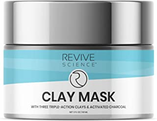 Revive Science Clay Facial Mask - Clay Mask for Face with Activated Charcoal, Lecithin and Kaolin - Remove ...