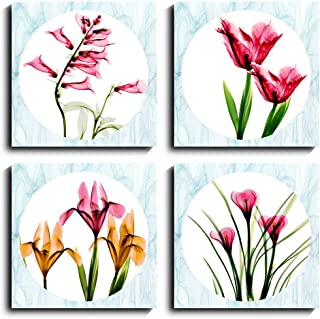 Sweety Decor Red Flower Wall Art Modern Canvas Print Painting for Living Room Bathroom Decoration