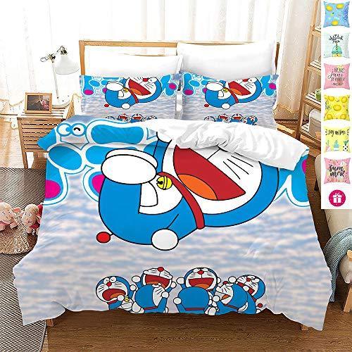 Wangxin Juego de Cama Doraemon 3D de Tres Piezas,Funda de EdredóN para el Hogar,con EdredóN y Funda de Almohada,Microfibra 100% PoliéSter(Sin Estática) B-220 * 240cm