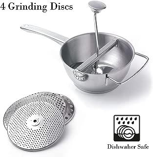Food Mill 18/10 Stainless Steel Fruit Vegetables Grinder Large 2 Quart Capacity 4 Milling Discs Dishwasher Safe