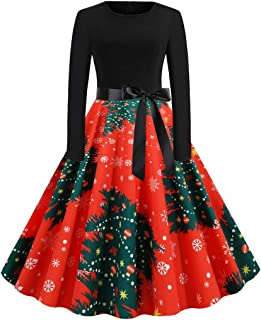 SuperXC Women's Christmas Long Sleeve Print Print Top Stitching Suture Dress Retro Cocktail Party A-line Dress