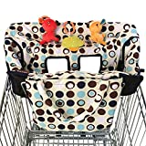 Croc N Frog 2-in-1 Shopping Cart Cover and High Chair Cover for Baby Boy or Girl - Soft Padded - Machine Washable - Easy to Fold into a Pouch - 3 Toy Loops - Sippy Cup Holder - Perfect Shower Gift