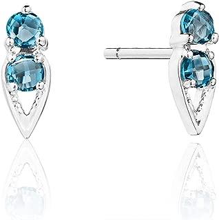SE25533 Sterling Silver Petite Open Crescent London Blue Topaz Earrings