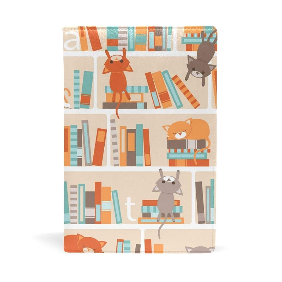 アーサーコナンドイル遠洋のフォーマット本棚の猫たち ブックカバー 文庫 a5 皮革 おしゃれ 文庫本カバー 資料 収納入れ オフィス用品 読書 雑貨 プレゼント耐久性に優れ