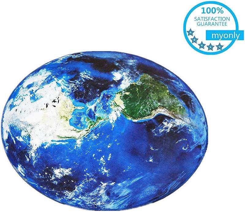Myonly Non Slip Kid S Carpet Round Area Rugs Mat Earth Multi Color World Crystal Velvet Soft Map Bedroom Carpet Living Room Circular Carpet Machine Washable Rugs Mat Diameter 120cm 47 2in