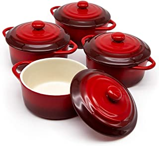 12oz Mini Cocotte, by Kook, Casserole Dish, Ceramic Make, Easy to Lift Lid, Crimson Red, Set of 4,